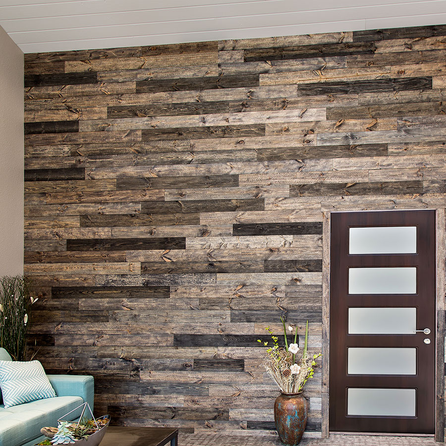 Rustic Grove Mixed Brown wall planks