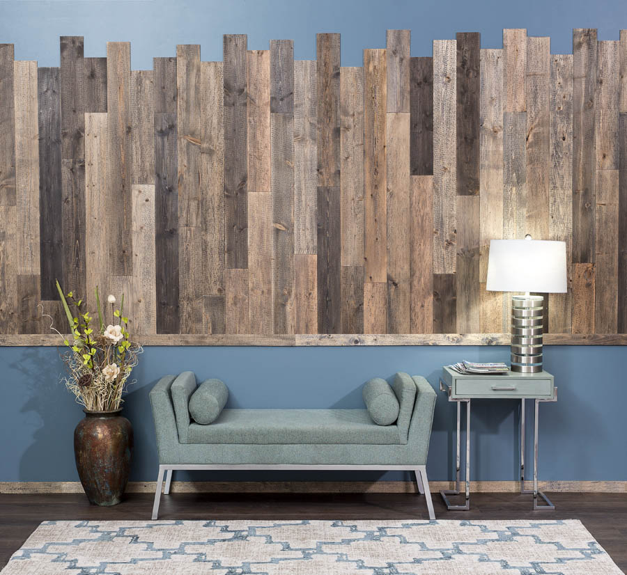 Rustic Grove Mixed Brown wall planks in an office setting.