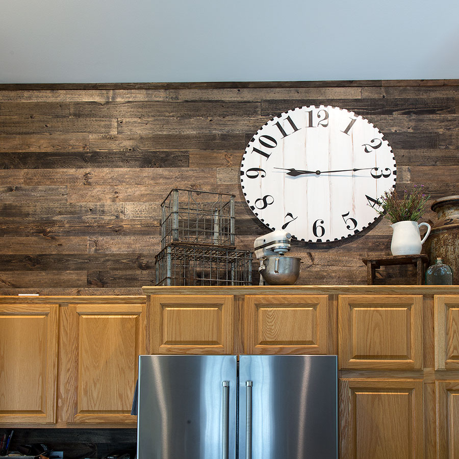 Rustic Grove Mixed Brown planks above kitchen cabinetry.