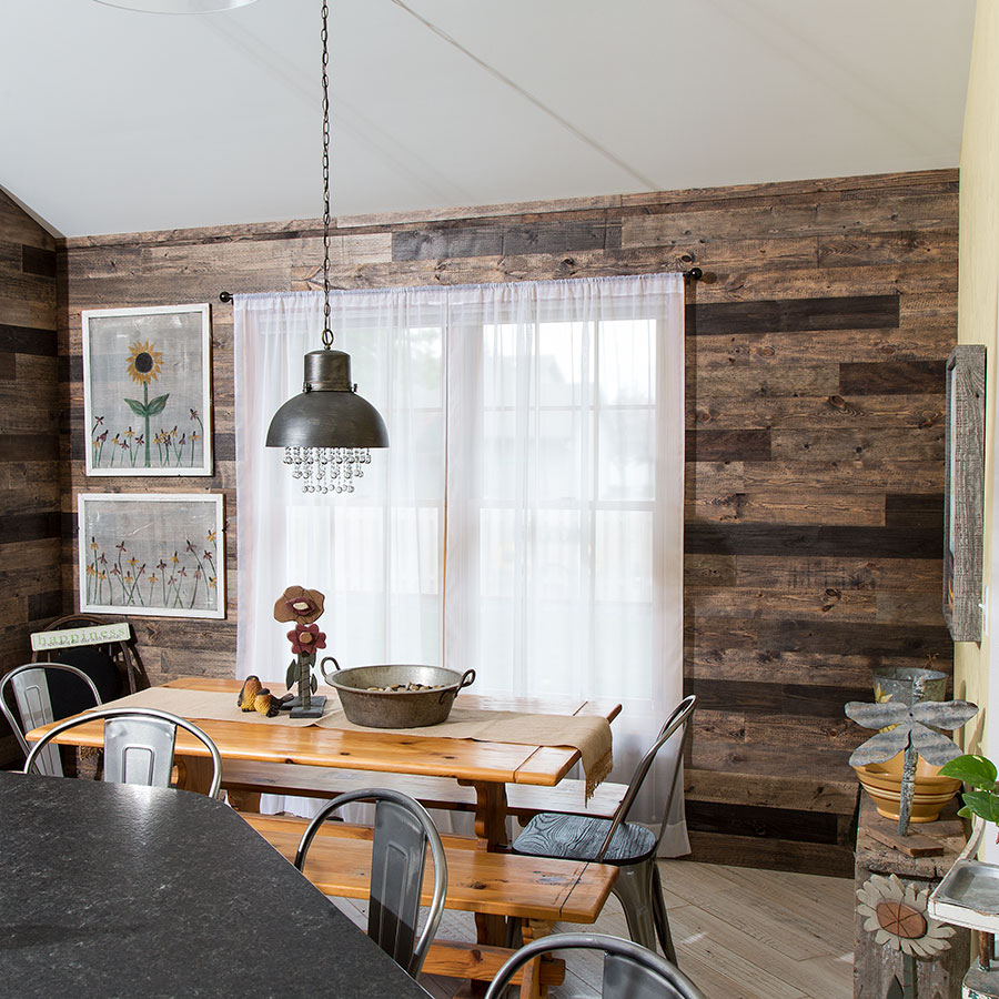 Rustic Grove Mixed Brown wall planks on kitchen wall.
