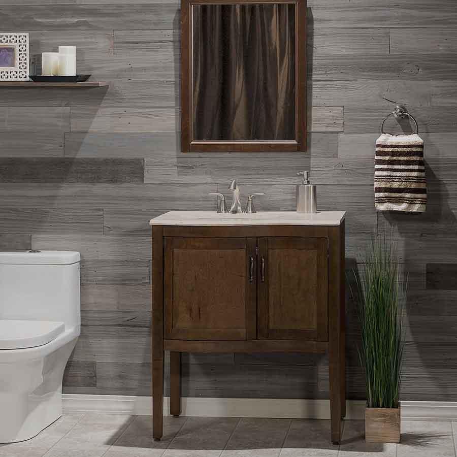 Mixed Gray-Dark Rustic Grove planks on bathroon wall.