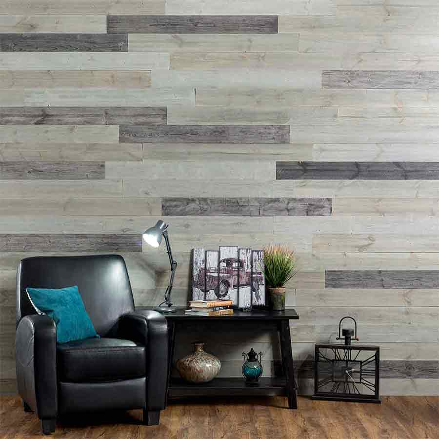 Rustic Grove Mixed Gray-Dark planks on wall with leather chair and table.