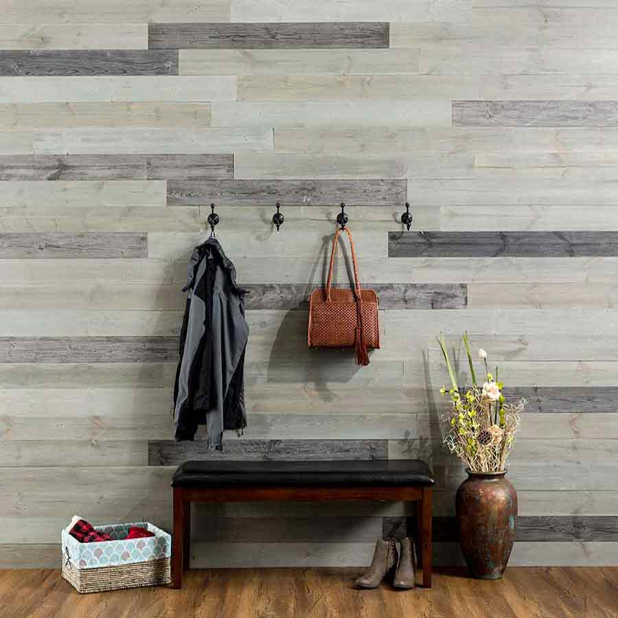 Rustic Grove Mixed Gray-Dark planks on wall with hooks.
