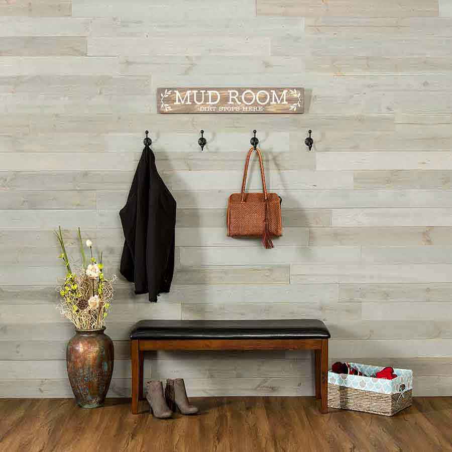 Rustic Grove Mixed Gray-Light planks on mud room wall.