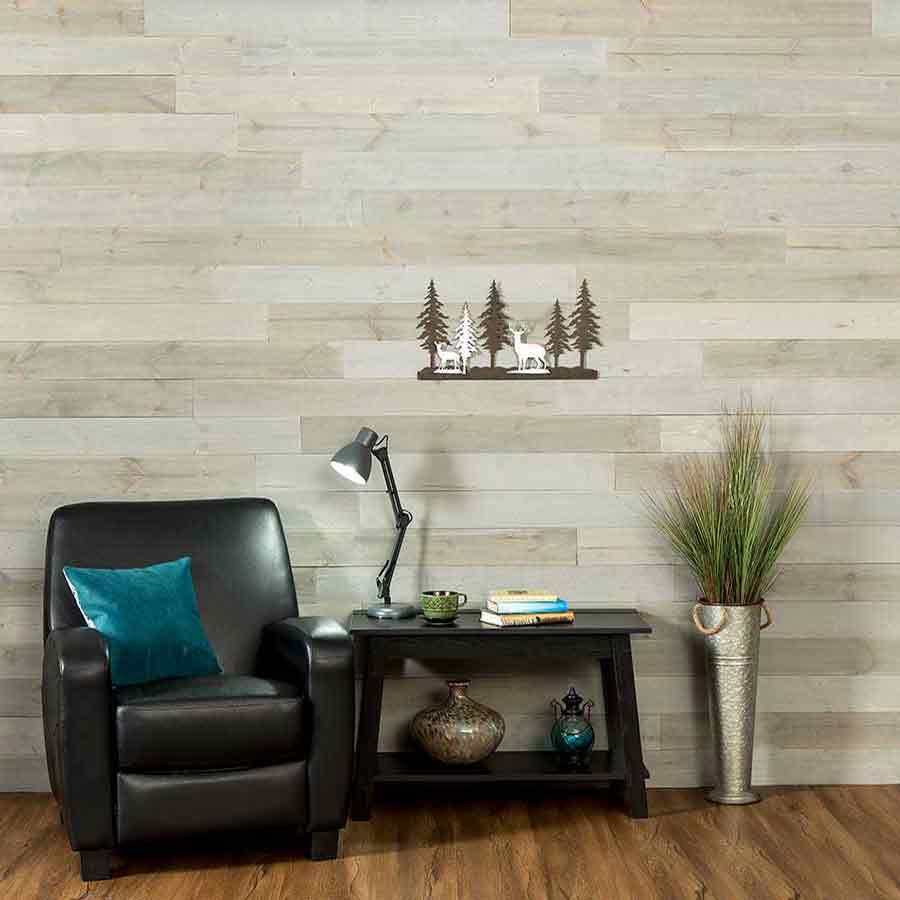 Rustic Grove Mixed Gray-Light planks with leather chair and table.