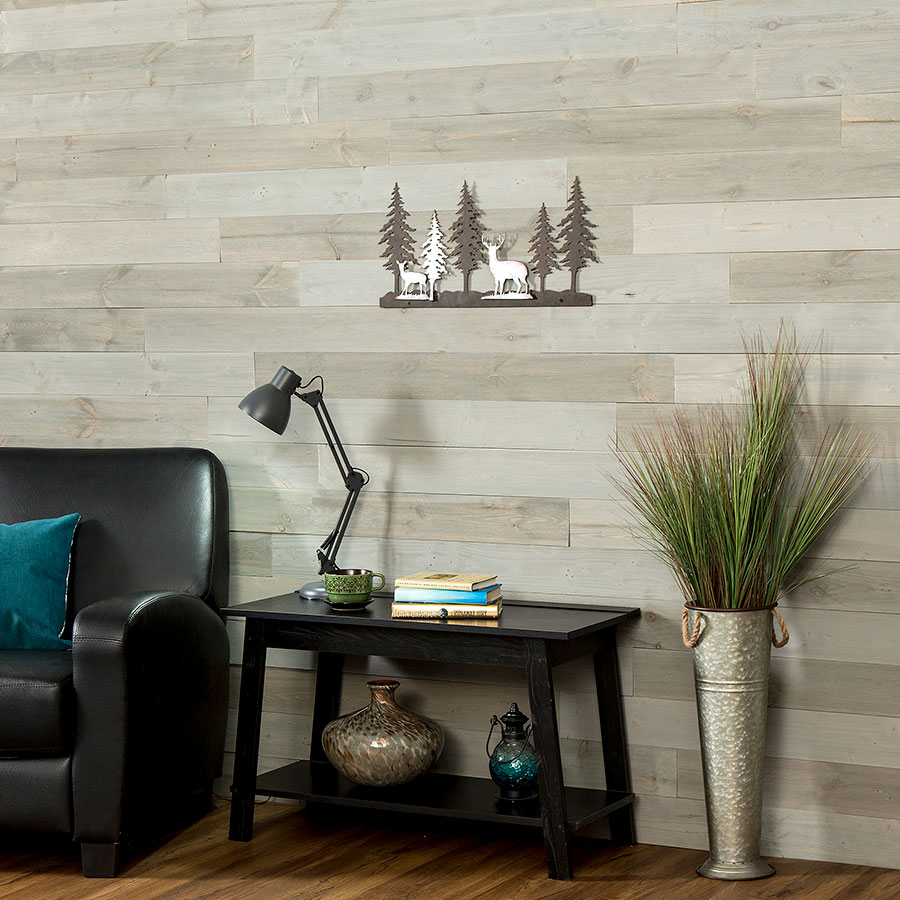 Rustic Grove Mixed Gray-Light on living room wall.